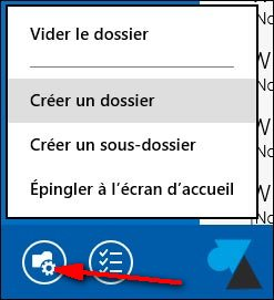 creer sous dossier Courrier Windows81
