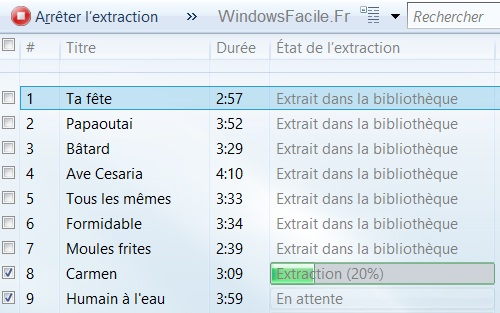 extraction dans bibliotheque