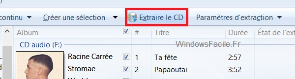 Windows Media Extraire le CD