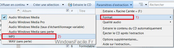 extraction format MP3