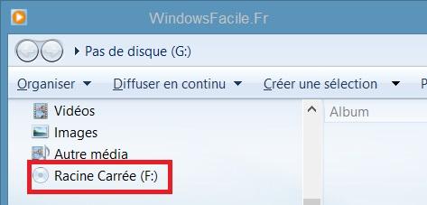 Windows Media selection lecteur cd