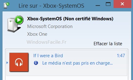Xbox One semble incompatible MP3 DLNA