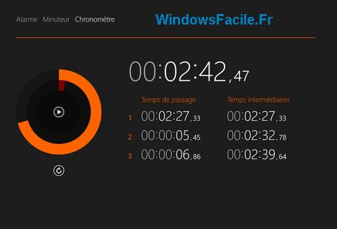 Windows 8 1 applications alarme minuteur et chronom tre lycee98 - Chronometre et minuteur ...