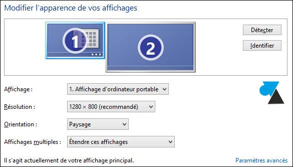 Windows 8 1 connecter un deuxi me cran ou tv sur for Configurer ecran pc