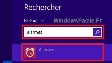 Windows 8 recherche alarmes