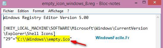 Modifier fichier reg chemin icone