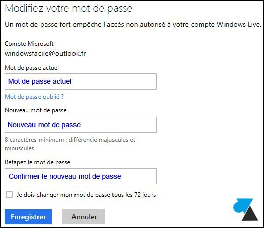 comment changer mot de passe mail Outlook Hotmail