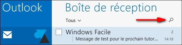 courrier recherche loupe mail Windows 8