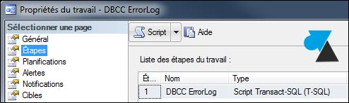 travail tache SQL Server dbcc errorlog