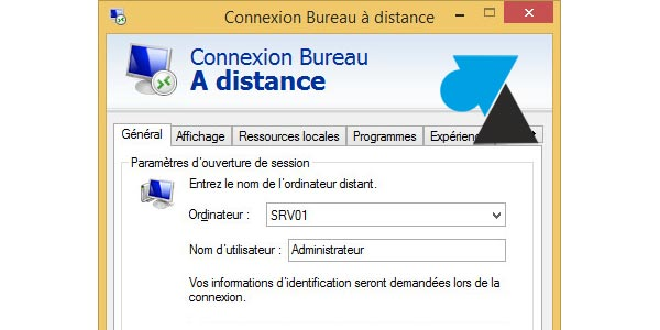 script de connexion bureau distance mstsc windows facile