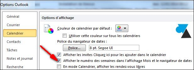 Outlook 2010 options calendrier
