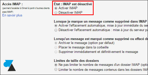 tutoriel activer IMAP Gmail Google Apps for Work mail