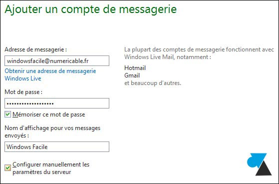 tutoriel adresse email Numericable Estvideo Windows Live Mail