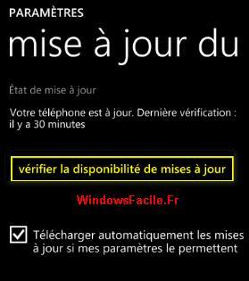 Windows Phone vérifier mise à jour