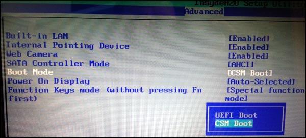 tutoriel Toshiba Bios UEFI Secure Boot installer Windows 7 8