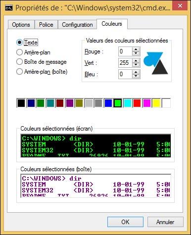 invite de commandes dos cmd changer couleurs