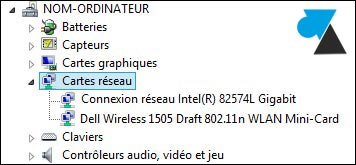 gestionnaire peripheriques reference carte reseau Ethernet wifi