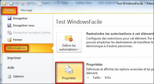 tutoriel voir header en tete mail Outlook 2010