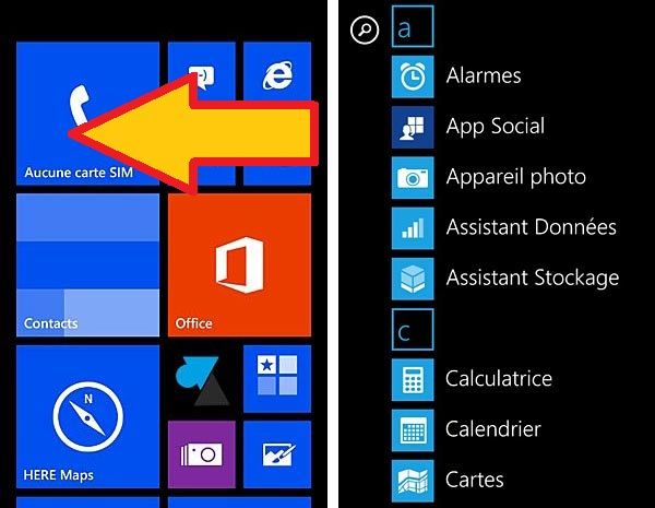 Nokia Lumia Windows Phone 8 accueil applications