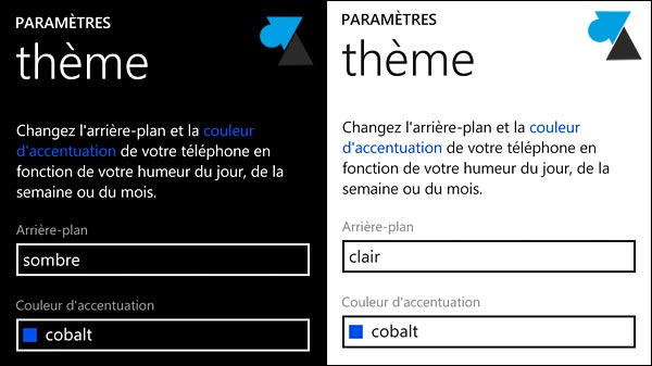 Nokia Lumia Windows Phone theme sombre clair