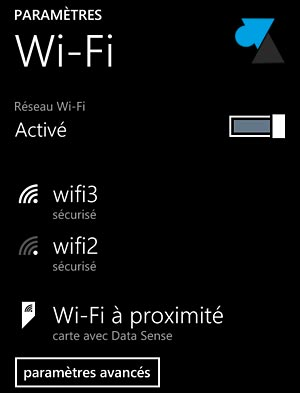 Nokia Lumia Windows Phone parametres reseau wifi