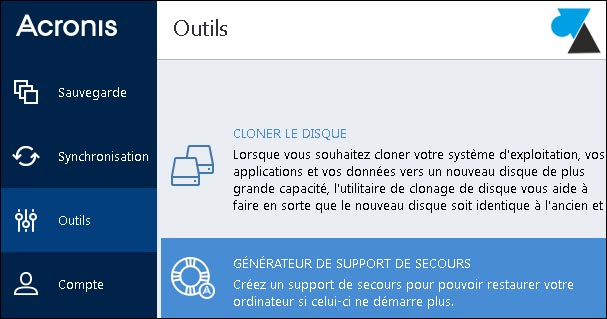tutoriel Acronis True Image 2015 cle USB