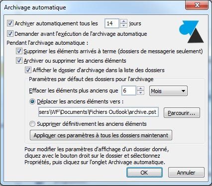 archivage messages Outlook 2010