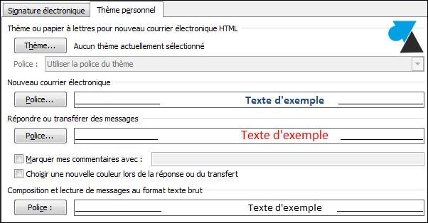 tutoriel Outlook changer police couleur texte mail