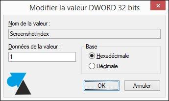tutoriel reinitialiser nombre capture ecran Windows