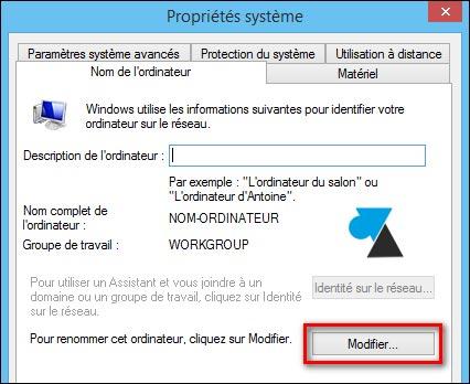 tutoriel Windows changer nom PC ordinateur Workgroup