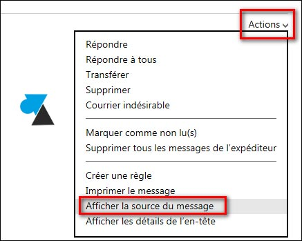 Outlook Hotmail afficher en tete header