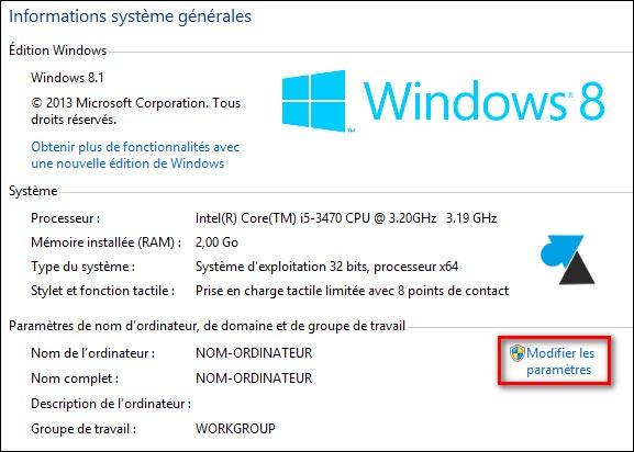 Windows proprietes systeme