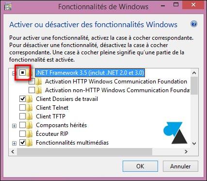 Installer .NET Framework 3.5 sur Windows 8 et 8.1