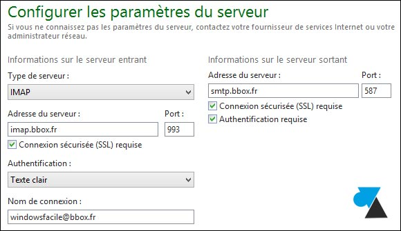tutoriel configurer Windows Live Mail adresse bbox bouygues