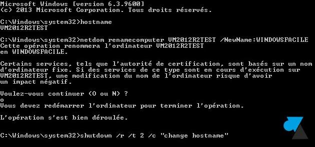 tutoriel changer hostname commande netdom renamecomputer