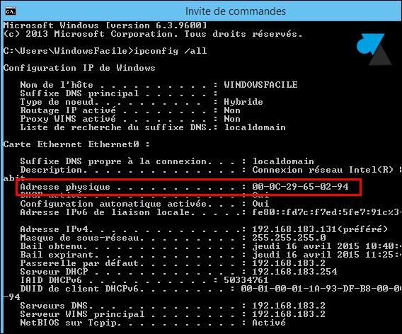 tutoriel ipconfig all adresse mac