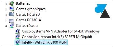 gestionnaire peripheriques carte reseau wifi