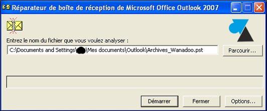 tutoriel Outlook reparer fichier PST scanpst