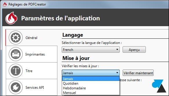 tutoriel pdfcreator desactiver mise a jour logiciel