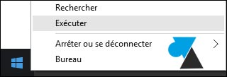 Windows 10 clic droit bouton menu demarrer executer