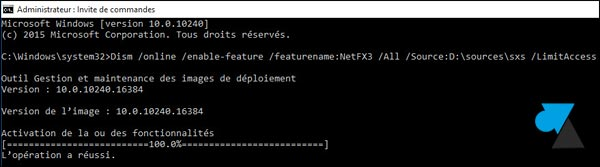 Windows 10 installer NET Framework cmd commande
