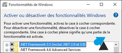 tutoriel Windows 10 installer NET Framework 2.0 3.0 3.5