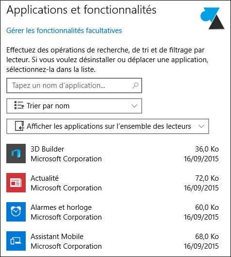tutoriel Windows 10 programmes installés