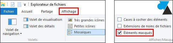 tutoriel Windows 10 afficher fichiers dossiers cachés masqués