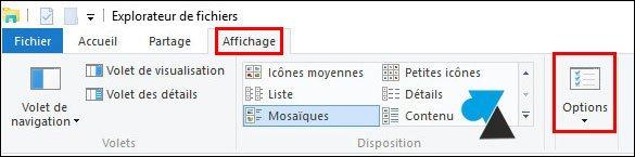 tutoriel Windows 10 explorateur fichiers menu Affichage Options