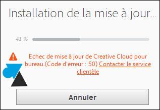 tutoriel Adobe Creative Cloud erreur 2 50