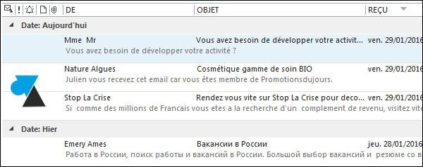 tutoriel Microsoft Outlook 2013 apercu liste mails
