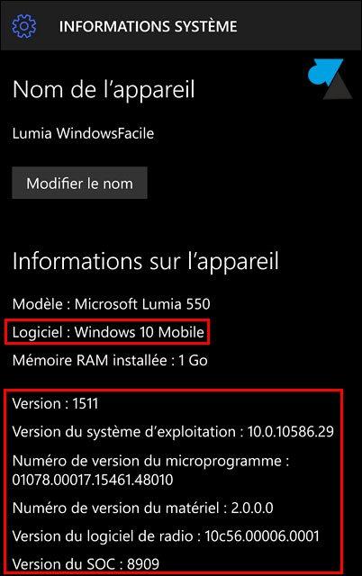 tutoriel Windows 10 Mobile Parametres Systeme version OS systeme exploitation