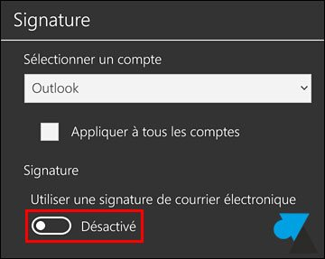 tutoriel Windows 10 Mobile Courrier Outlook signature