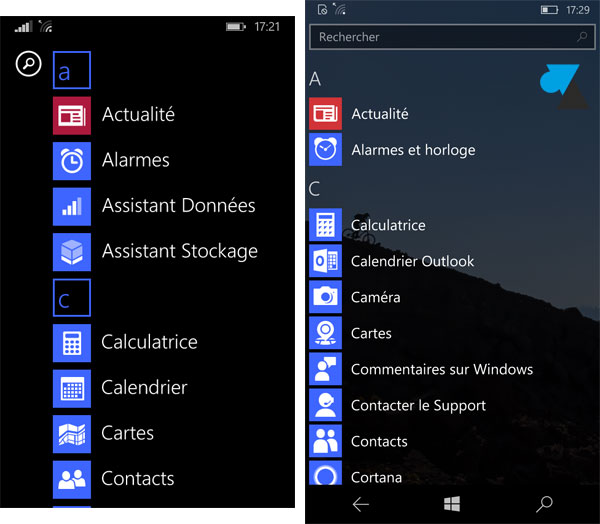 comparaison Windows Phone 8 et Windows 10 Mobile smartphone Nokia Microsoft Lumia
